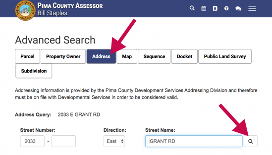 How to find your address on the Pima County Assessor's site
